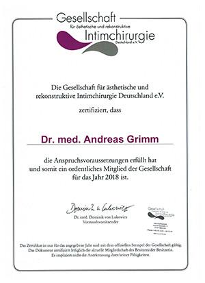 Zertifikat Intimchirurgie