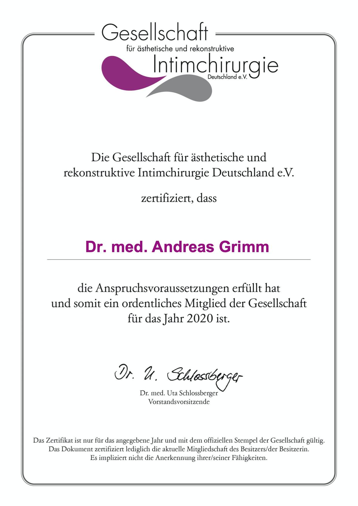 gaerid zertifikat 2020 mitgliedschaft gesellschaft intimchirurgie grimm